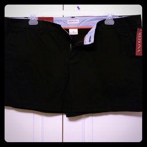 Black,  chino shorts. Size 18.